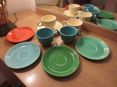 Lot Of 10 Pc Of Genuine Fiesta Ware Cups And Saucers Mixed Colors