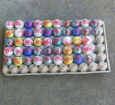"""Coke Lot of 47 Coca-Cola glass marbles advertising Ads 1"""" shooters Wholesale lot"""