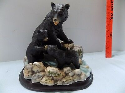 Beautiful Home Interiors Masterpiece Porcelain American Black Bears w Wood Base-