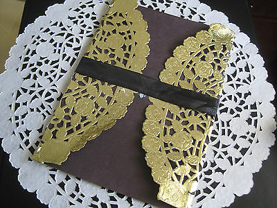 """100 Pc❤ 10"""" Inch Round Floral Gold Shiny Foil Paper Lace Doily Fast❤ Free ❤ Ship"""