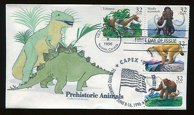 #3077-80 32c Prehistoric Animals FDC Hand Colored by Collectors Cachets  FD4555