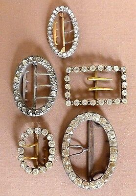 Paste Belt Buckle Collection Group of 5 Various Metals Antique C. 1880's - 1900