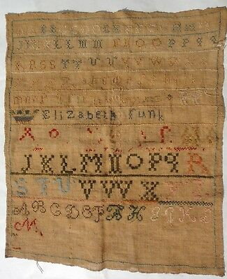 c 1820 antique ELIZABETH FUNK ALPHABET SAMPLER homespun brown linen