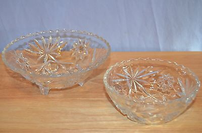 Antique glass bowls Anchor Hocking EAPC Star of David 3 footed toed Vintage