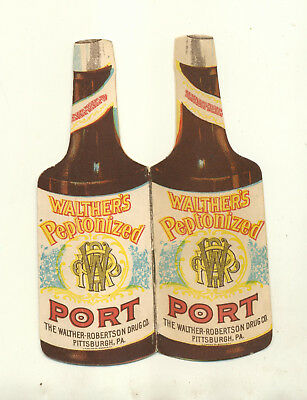 Bottle Shaped Advertising Piece Walthers Peptonized Port Pittsburgh Pa