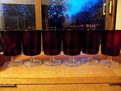 (6) Water Glasses Goblets ruby red clear Cristal D'arques Cavalier france