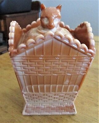 Vintage Summit Glass Co. Chocolate Slag Cat in a Hamper Whimsy