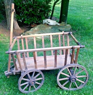 Antique Primitive Goat Cart Buggy Farm Carriage Hay Spoke Wheels Hand crafted