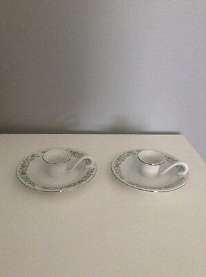 Pair of Vintage Mikasa Fine China Taper Candle Holders Green Flower & Vines