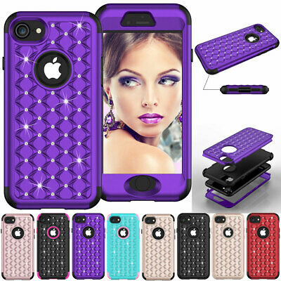 For iPhone 7 / 7 Plus Diamond Bling Shockproof Heavy Duty Rubber Hard Case Cover