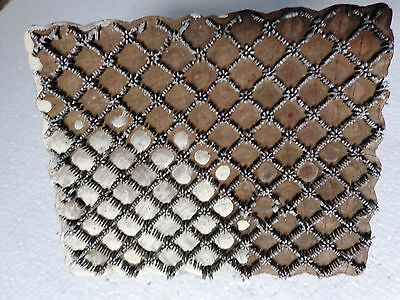 Vintage Brass Nails Wood Block Stamps fabric Prints tools B20 Aged Early India
