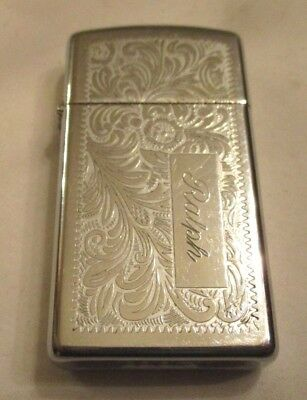 1980 Zippo Lighter Silver Tone Fancy Floral Pattern Engraved Ralph