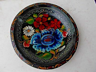 Vintage-Hand Carved Wooden-Painted Toleware FOLK ART  decor 9""