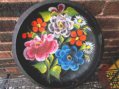 Vintage-Hand Carved Wooden-Painted Toleware FOLK ART  decor 11""