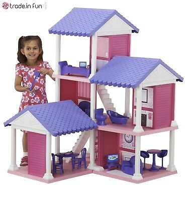 Large Doll House Barbie Size Girls Dollhouse Big Plastic Playhouse