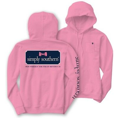 Simply Southern Womans Long Sleeve T-Shirt Bow Logo Hood Hoodie Pink