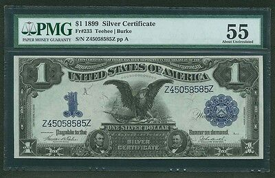 1899  $1 Silver Certificate Black Eagle Fr-233 About Uncirculated Pmg-55