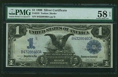 1899 $1 Silver Certificate Black Eagle Fr-233, Almost Unc., Certified Pmg58