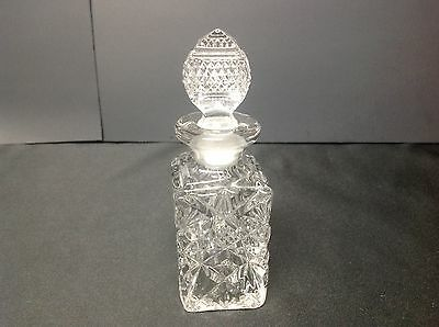 """Clear Glass Crystal Cruet with Stopper 5 1/4"""" Tall"""