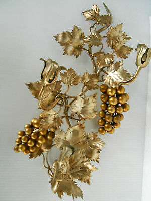 Antique Italian Gold Gild Metal 3 Candle Wall Sconce Grapes  Leaves