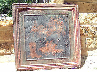 Antique Ceiling Tin Recycled Western Cowboy Art Wall Tile CC