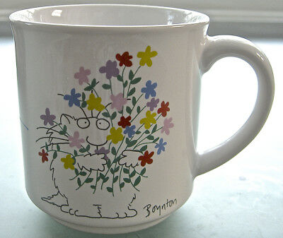 """Vtg. White Ceramic Mug Cup Boynton Cat with Flowers """"Wishing You All the Best"""""""