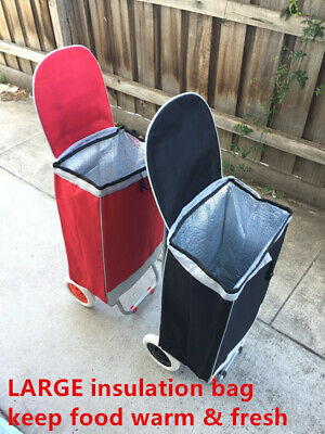 Insulation Bag Shopping Market Trolley Foldable Luggage Cart Basket Wheels