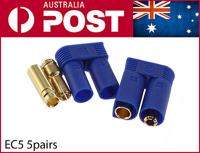 5 Pairs EC5 Banana Plug Female Male Bullet Gold Connector 5 Sets 10pcs