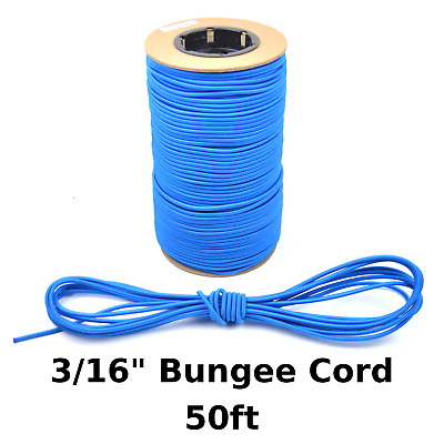 """50ft 3/16"""" Blue Bungee Cord Marine Grade Heavy Duty Shock Rope Tie Down Stretch"""