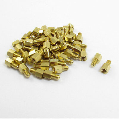 50 Pcs Male to Female Threaded Hexagonal Standoff Spacer M4 x6mmx 12mm Gold Tone