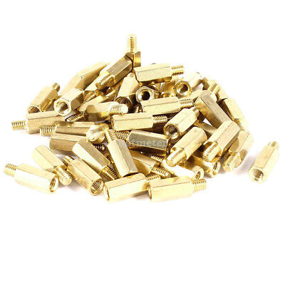 50 Pcs PC PCB Motherboard Brass Standoff Hexagonal Spacer M3 10 mm+4mm Gold Tone