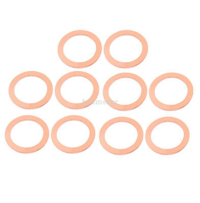10 Pcs 35 mm x 27 mm x 2mm Flat Ring Copper Crush Washer Sealing Gasket Fastener
