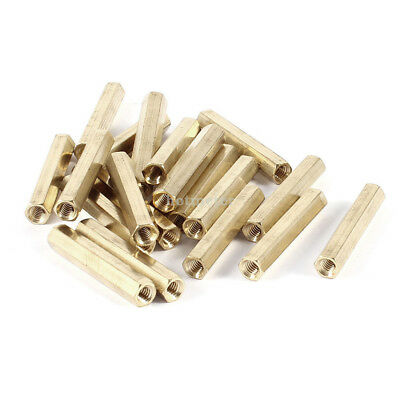 20 Pieces M4 Female Threaded PCB Brass Standoff Spacer 35mm High Gold Tone M4x35