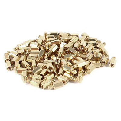 100Pcs PC PCB Motherboard Brass Standoff Hexagonal Spacer M3 7+4mm Gold Tone 98g