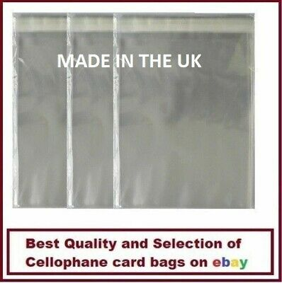 100 Quality A6 / C6 Cellophane Cello Greeting Card Bags Self Seal