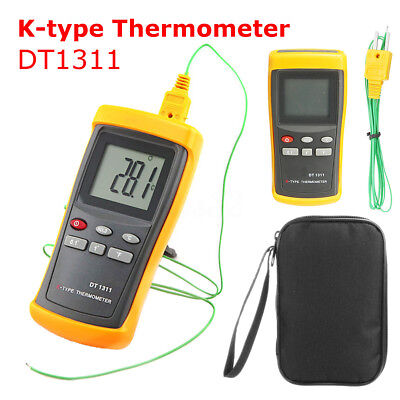 Digital K-Type Thermometer with Very High Temperature Thermocouple DT1311 & Bag
