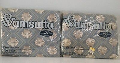 Wamsutta King Sheets Set New Vtg No Iron Fitted Flat Seashells 50/50