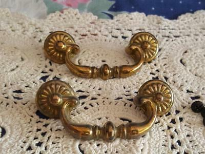 Pair Two Brass Drawer Pull Faux Swing Handle Shiny Gold Classic Traditional