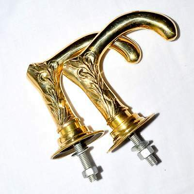 Handmade Pair Brass Art Door Pull Handles Knobs With Plates
