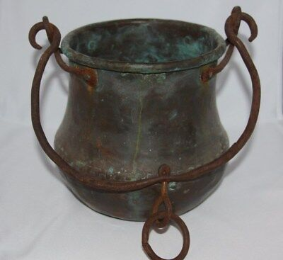 Vintage Antique Primitive Hand Forged Copper Bucket Pot Hand Hammered w Patina