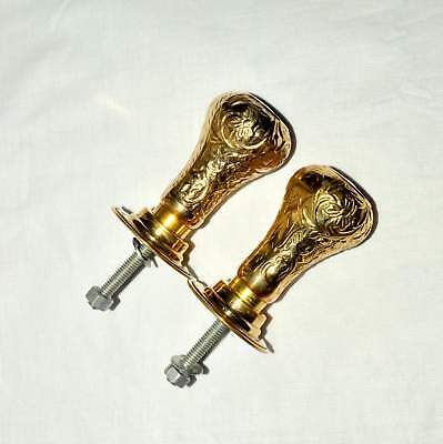 Antique Solid Brass Handmade Door Handles Knobs Architectural Vintage with Plate