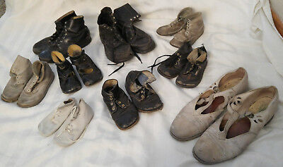 Vintage Lot 9 Pair Leather Baby & Children's Shoes Boots Victorian - 1930's 40's