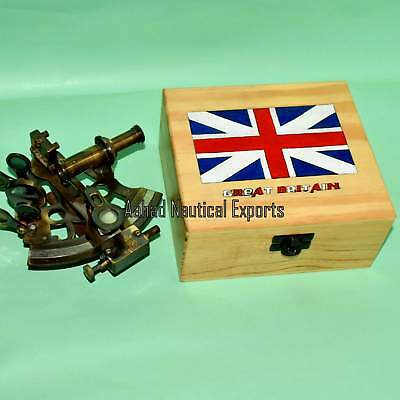 Antique Nautical Maritime ~ Brass Sextant ~ Sextant Astrolabe With Wooden Box