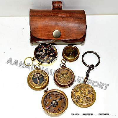 Antique Style Brass Compass Lot Of 5 Compass 1Calander Leather Box Set Gift