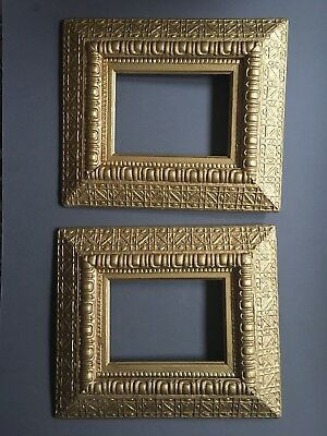 Pair Vintage 5 x 7  Antique Gold Ornate Wood and Gesso Picture Painting Frames