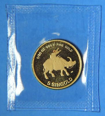 1985 Republic of Singapore Ox 5 Singold 1/20 oz .9999 Gold Coin Sealed