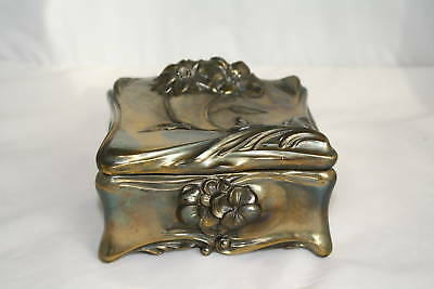 LARGE Antique Art Nouveau Jewelry Trinket Box Cast Ormolu IRIDESCENT PATINA