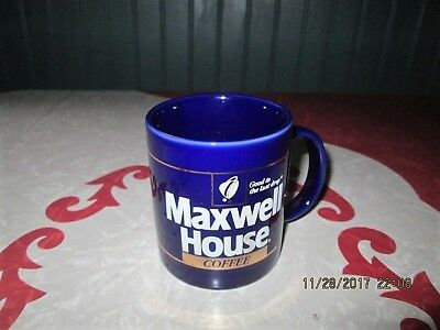 Vtg.Maxwell House Good To The Last Drop Cobalt Blue Gold Coffee Cup Mug