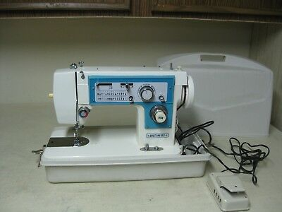 Vintage Heavy Dressmaker Sewing Machine Model S-2402 With Hard Plastic Case