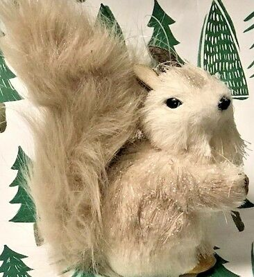 2017 Pier 1 Natural  Light Brown White Squirrel Christmas Ornament Gifts Holiday